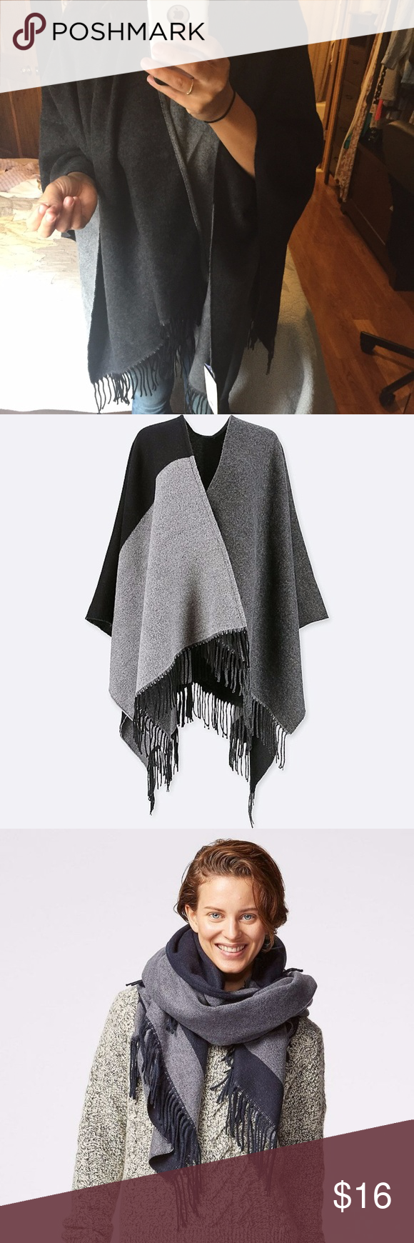 UNIQLO Colorblock 2-Way Stole Wrap/Poncho/Scarf This is a brand new with tags 2-way stole that can be worn as a wrap, poncho or scarf.  Great fall colorblocking hues.  Super warm with black fringe which measures 4in long. Uniqlo Jackets & Coats Capes