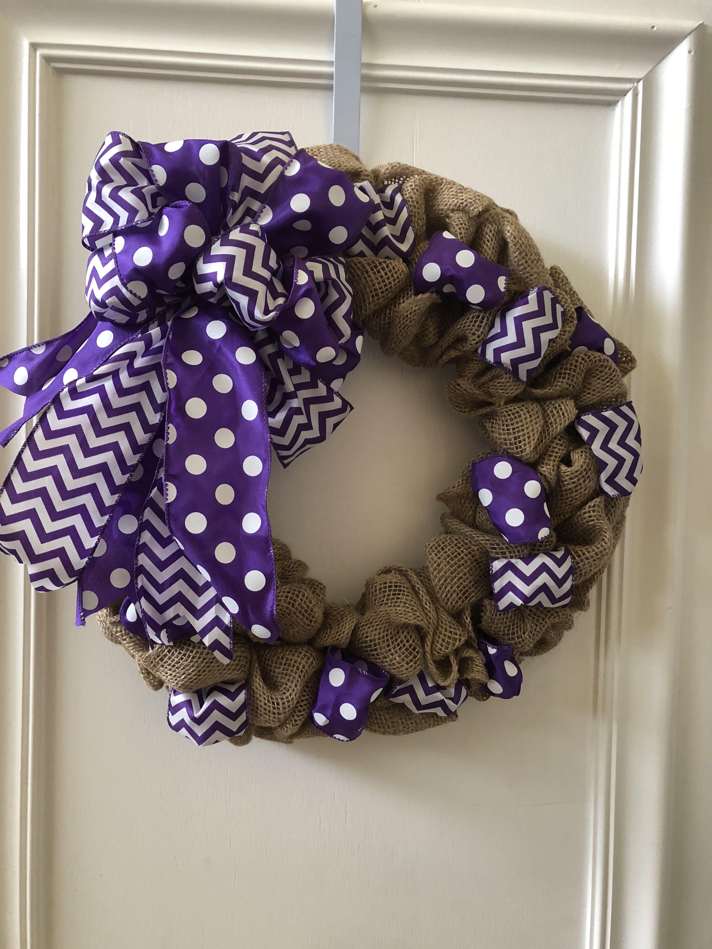 Burlap and purple ribbon wreath anytime wreath storm door wreath