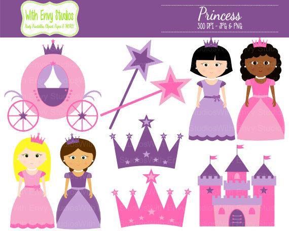 Princess Clipart - Castle Clipart - Crown Clip Art - Pink Princess ...