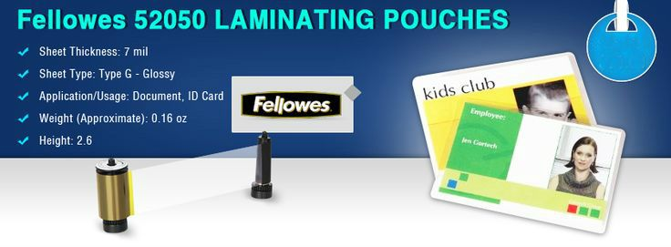 Fellowes 52050 Hot Laminating Pouches Id Tag Punched 7 Mil 100 Pack Premium Quality Pouches That Ensure Clear Durable Resul Fellowes Pouch