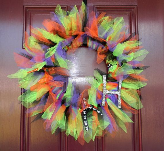 spooky halloween tulle and ribbon wreath by simplytutu on etsy   35 00