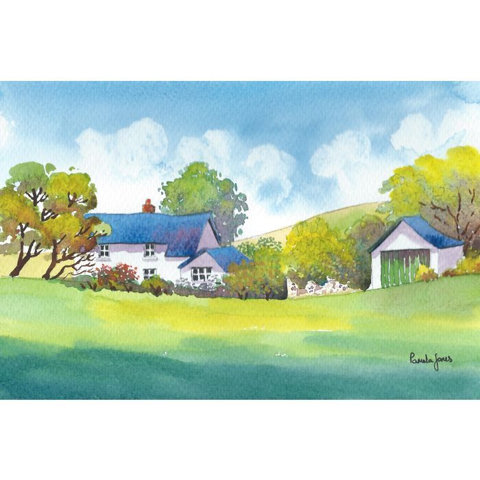 Watercolour Print :: Hillside Cottage Wales ...Framed Listing in the ...