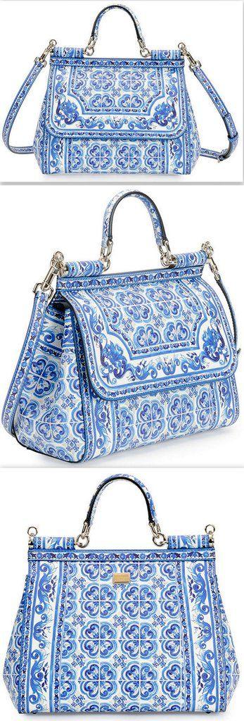 67ce7a3237  Miss Sicily  Floral Majolica Tile Print Satchel Bag