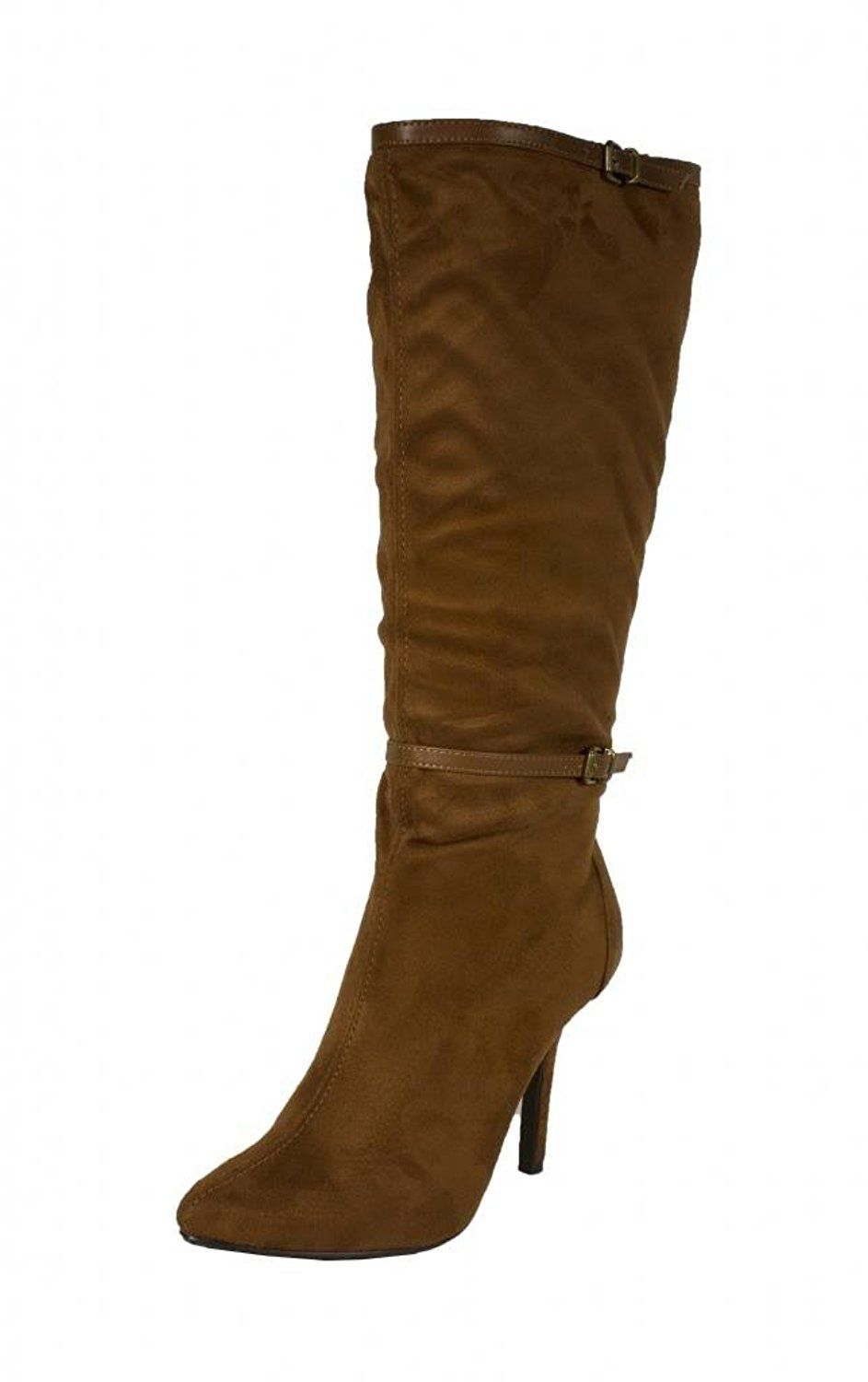 Lustacious Women's Knee High Pointy Toe Slim Belted Ankle Strap Stiletto Boots with Inside Zipper