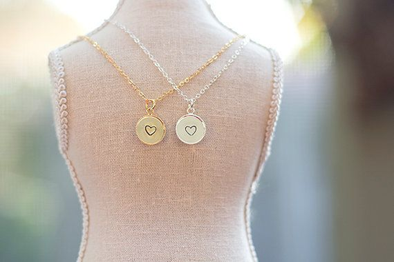 Heart stamped necklace simple, gold/silver plated, stamped charm, bridesmaid, gift
