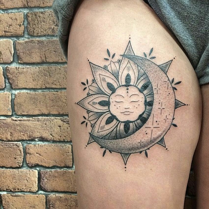 Sleeping sun and moon tattoo leg, dotted style Moon