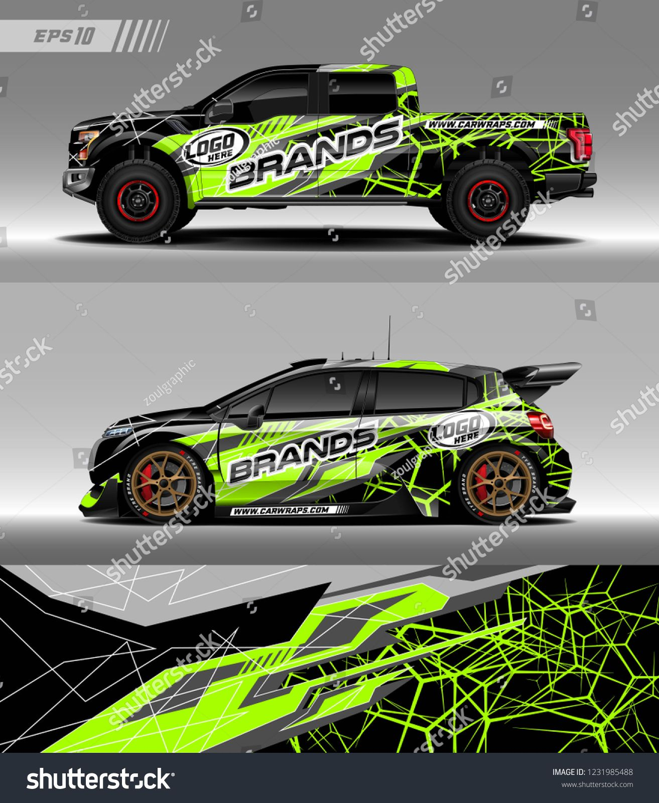 Pick up truck and hatchback car decal design vector  Graphic
