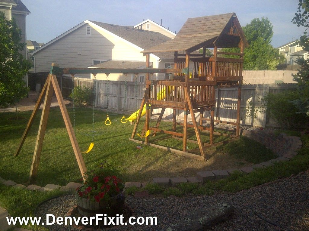 Backyard Adventures set move. 7 Foot Deck with a 12 foot rocket slide! From  Monument, CO to Englewood, CO. Custom Made a-frame swingbeam brace cemented  into ... - Backyard Adventures Set Move. 7 Foot Deck With A 12 Foot Rocket