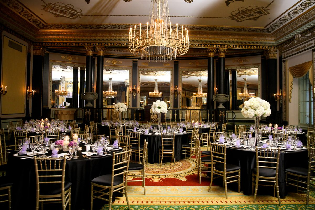 Palmer House Chicago Wedding-- Room decor with white flowers.