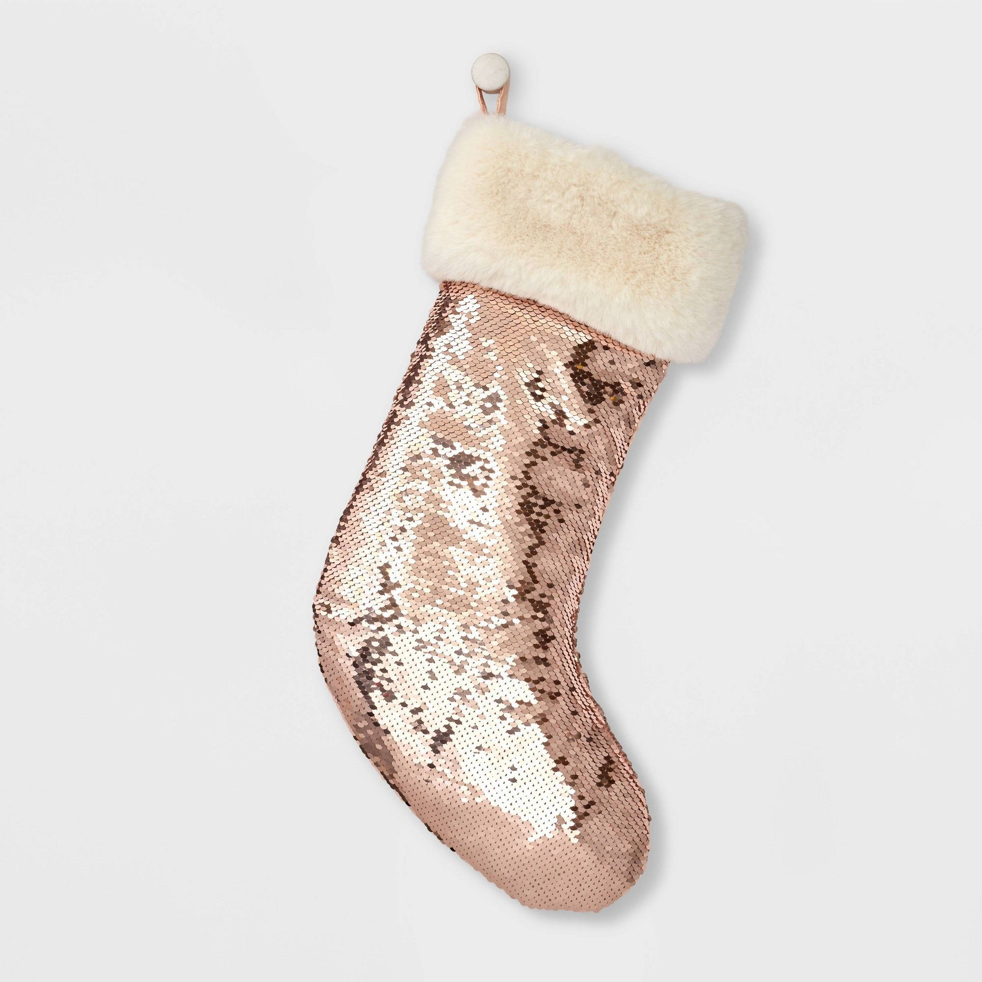 Sequin Christmas Stocking Blush and Copper