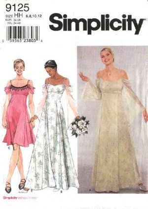 Simplicity Sewing Pattern 9125 Misses Size 6-12 Evening Gowns Formal ...