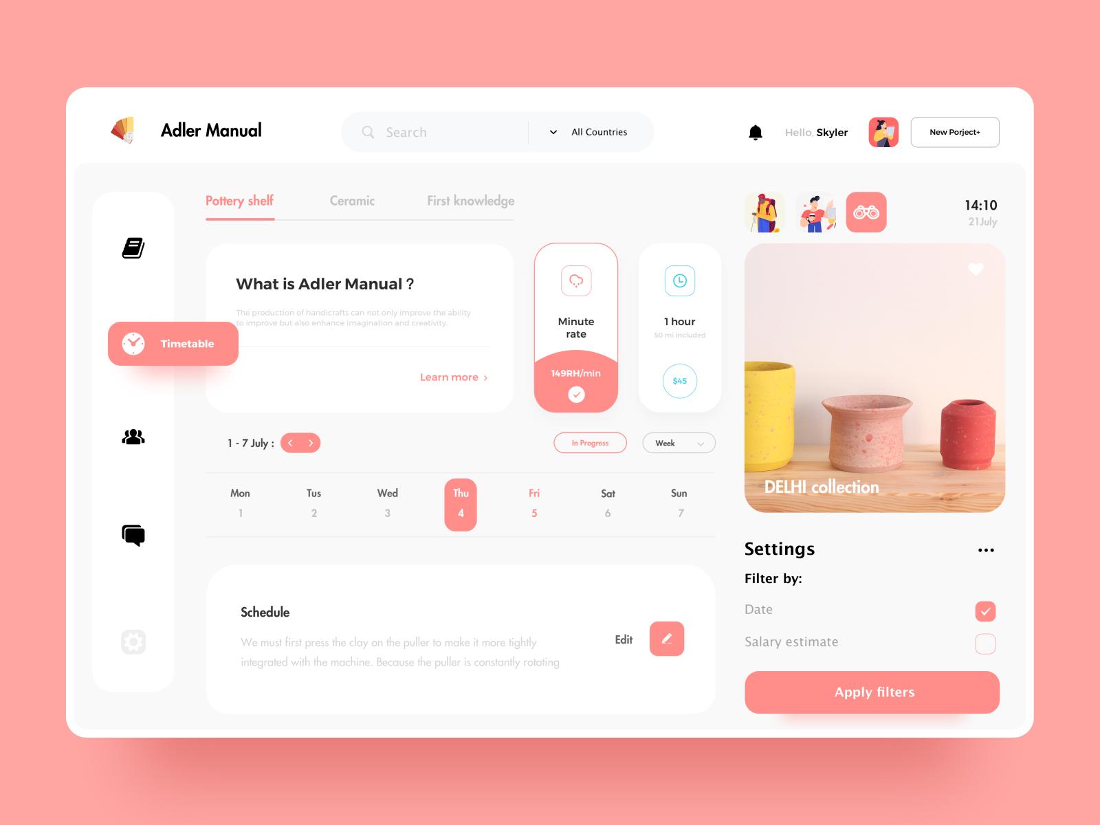 Pottery Web Design Web Design Dashboard Design Web App Design