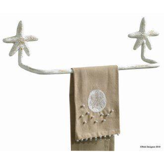 Seashell Bathroom Decor | Starfish 16 Towel Bar, Beach Bathroom Decor