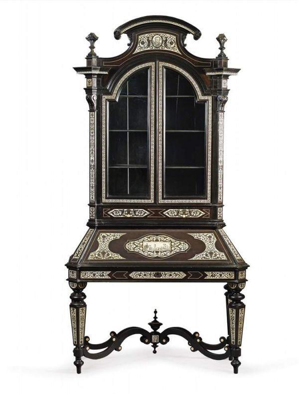 Rare Italian Ebony And Ivory Writing Cabinet Milan 1860 1880 Meuble De Style Mobilier De Salon Meubles Anciens