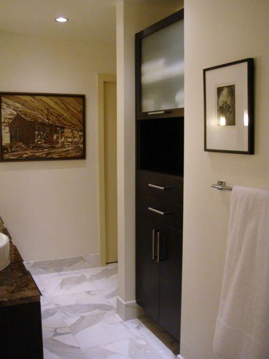 Italiano Wenge With Satin Glass Bathroom Storage  Seattle California Closets