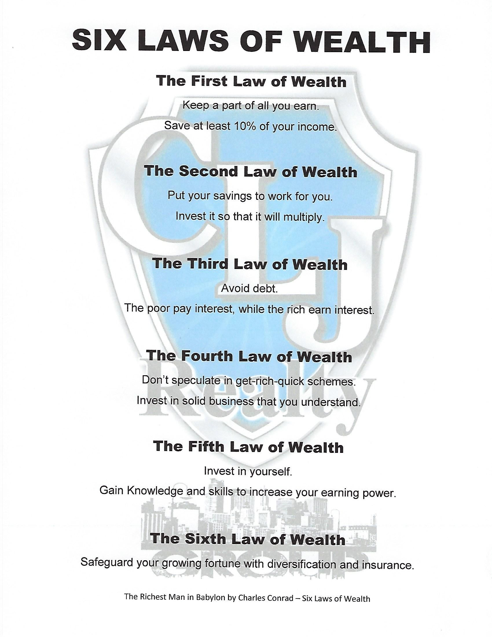Here S Something To Live By Going Into 2018 The Six Laws Of Wealth From The Book The Richest Man Business Motivational Quotes Finances Money Business Money