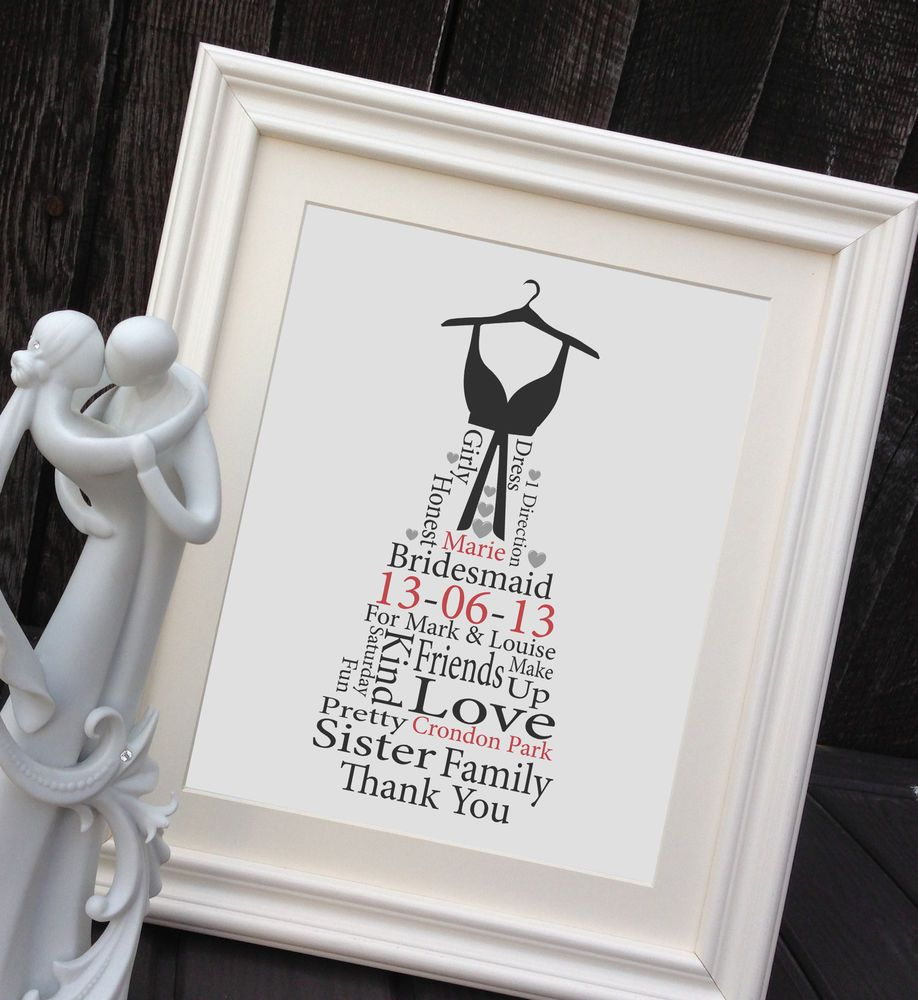 Wedding Thank You Gifts For Bridesmaids: Details About Personalised Bridesmaid Gift Framed Print