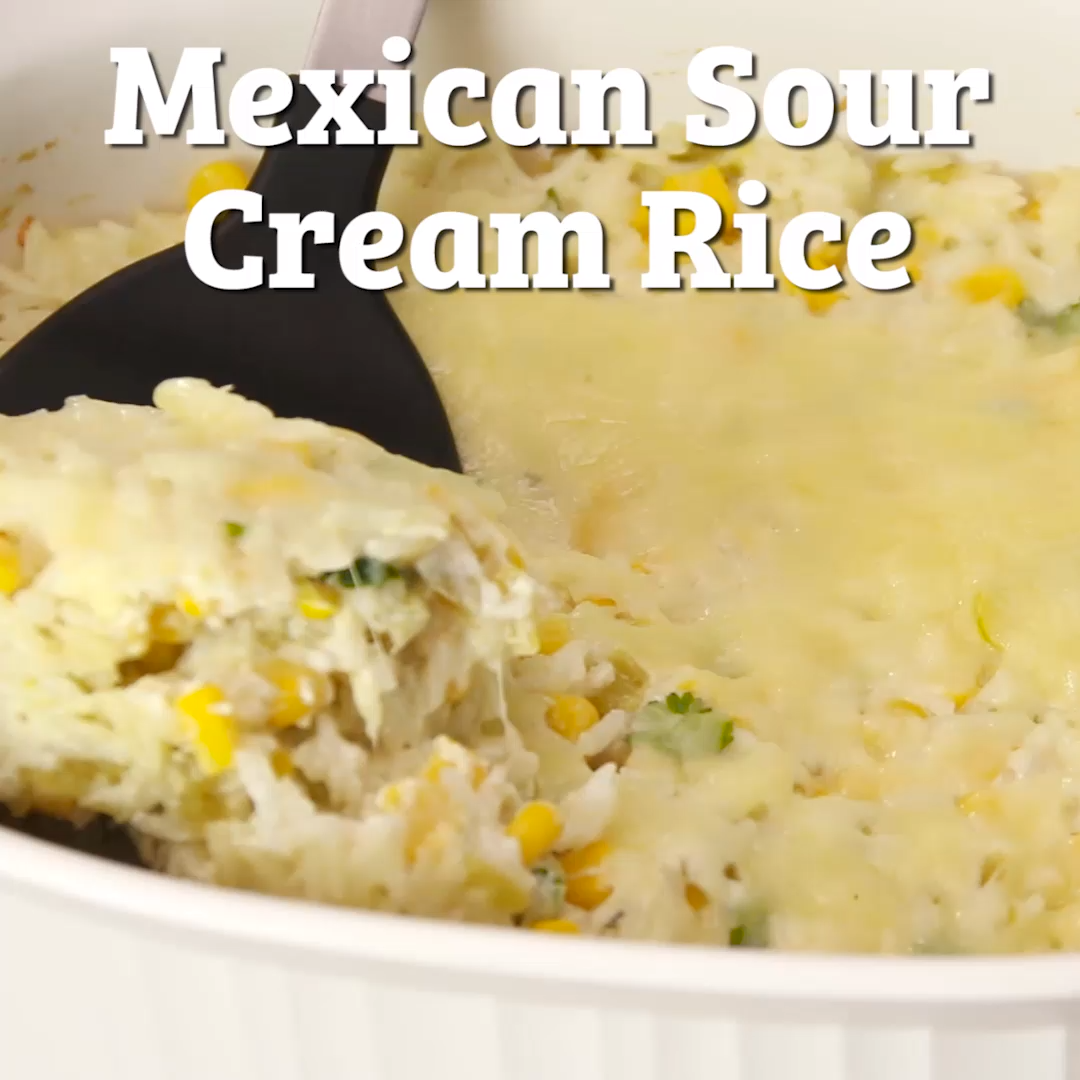 This Mexican Sour Cream Rice Casserole is creamy, cheesy and irresistible. Baked with Corn, Green Chilies, Sour Cream and Cheese, this is the perfect make-ahead side dish!