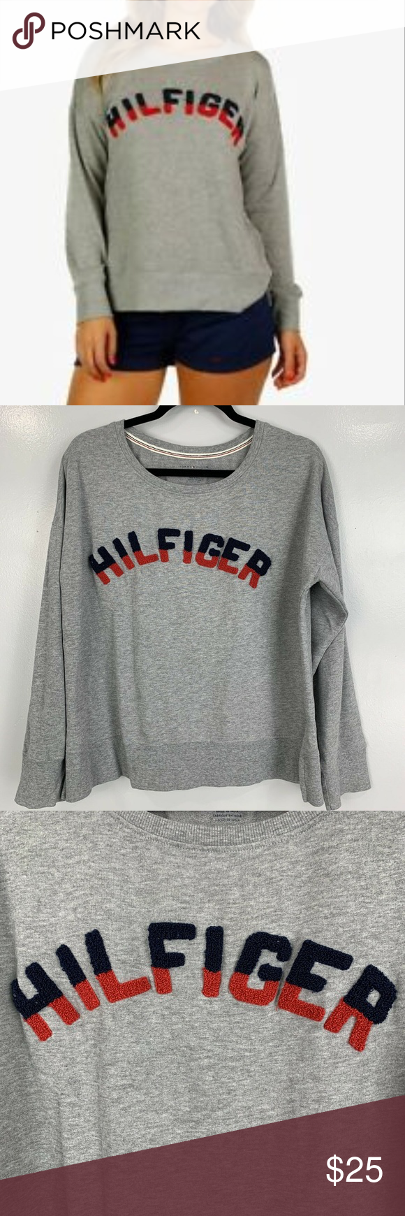 Tommy Hilfiger Boxy Pullover Sweatshirt Tommy Hilfiger Women S Pullover Sweatshirt Spell Out Gray 3d Size L Msrp 68 Sweatshirts Pullover Sweatshirt Hilfiger [ 1740 x 580 Pixel ]
