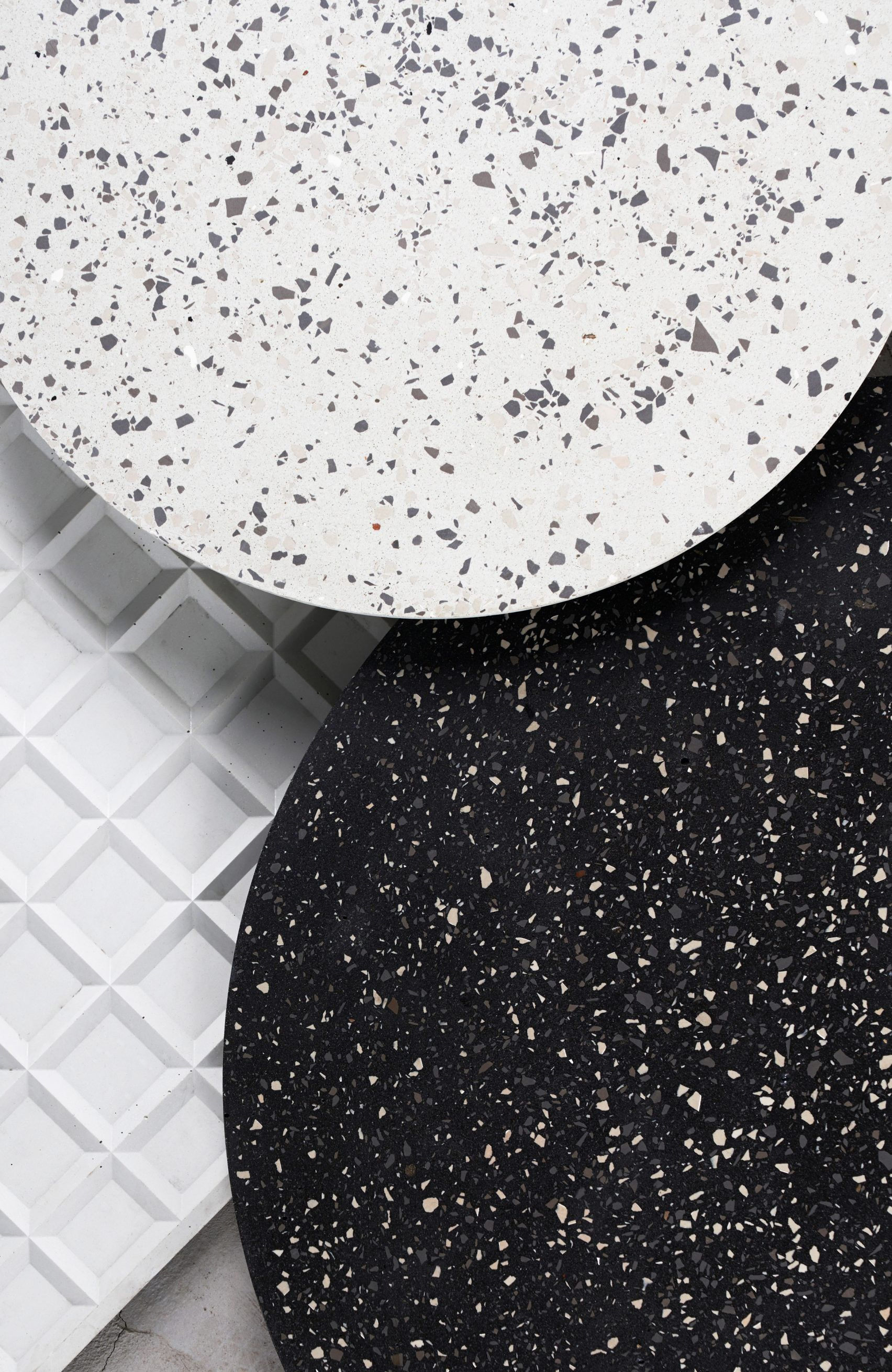 Bentu design makes terrazzo furniture using recycled ceramic waste chinese studio bentu design collected leftover tiles and crushed them to create its ceramics made collection of speckled furniture and lighting dailygadgetfo Images