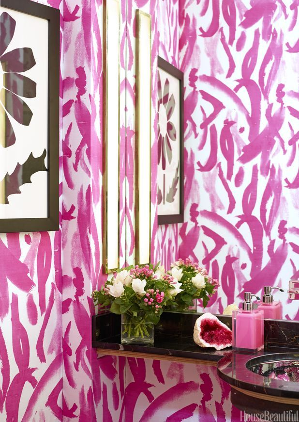 6 Powder Rooms That Pack A Punch | Powder room, Floral arrangement ...