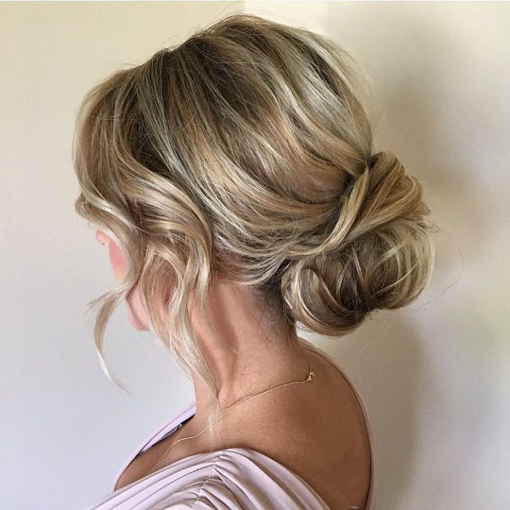 Soft And Textured Low Bun Bridal Hairstyle Updo Wedding
