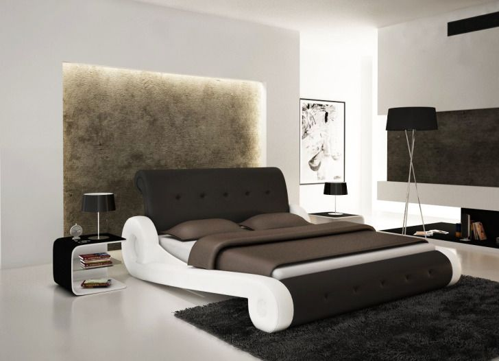 Unique Bed Frame Ideas For Bedroom Interior Modern White And Dark Chocolate Leather