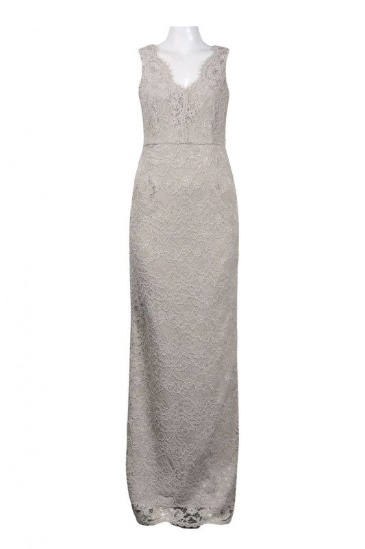 Adrianna+Papell+Sleeveless+Lace+Gown+(Taupe) | Adrianna Papell Lace ...