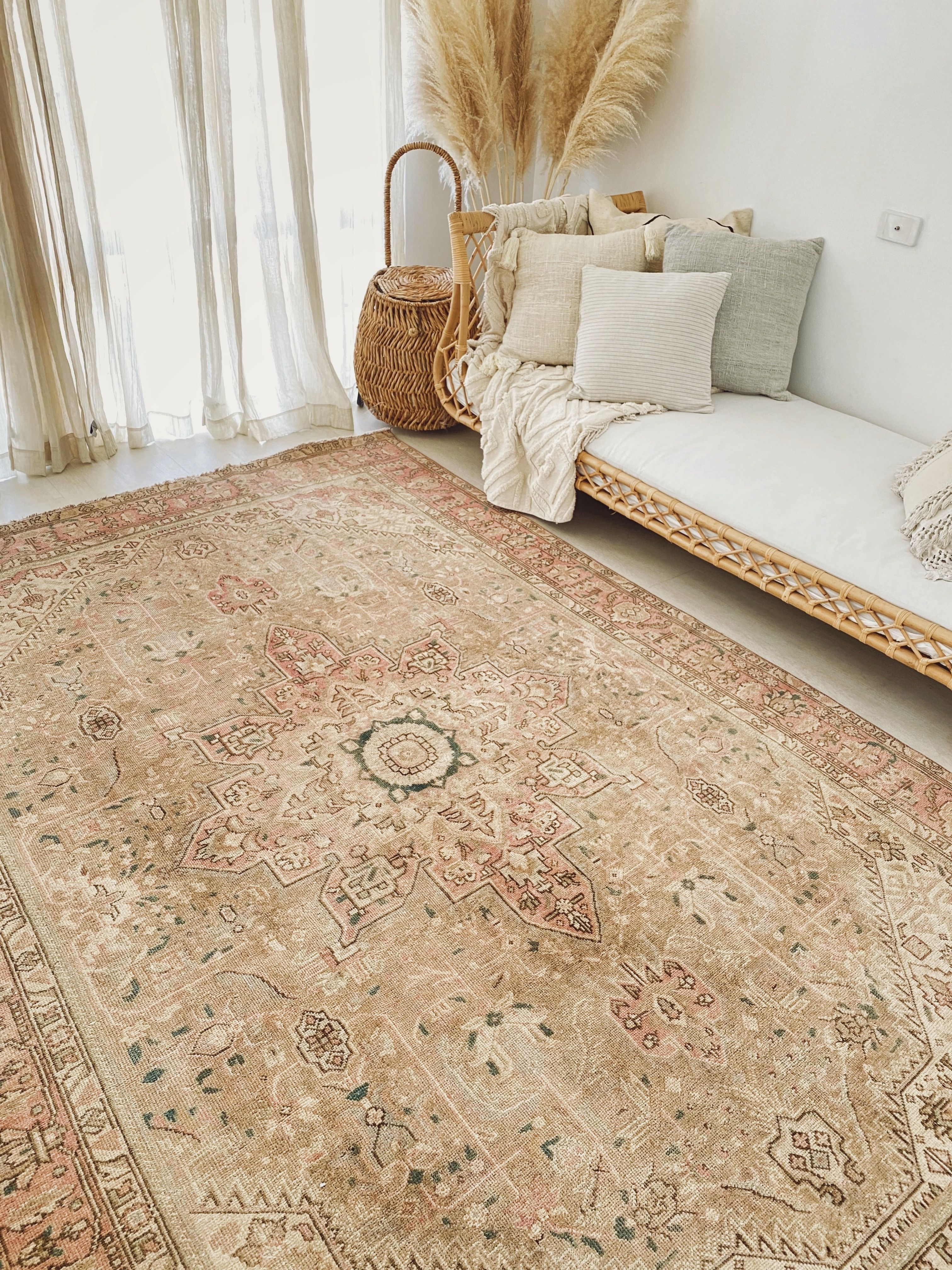Manisa Oversized Blush Taupe Faded One Of A Kind Turkish Rug In
