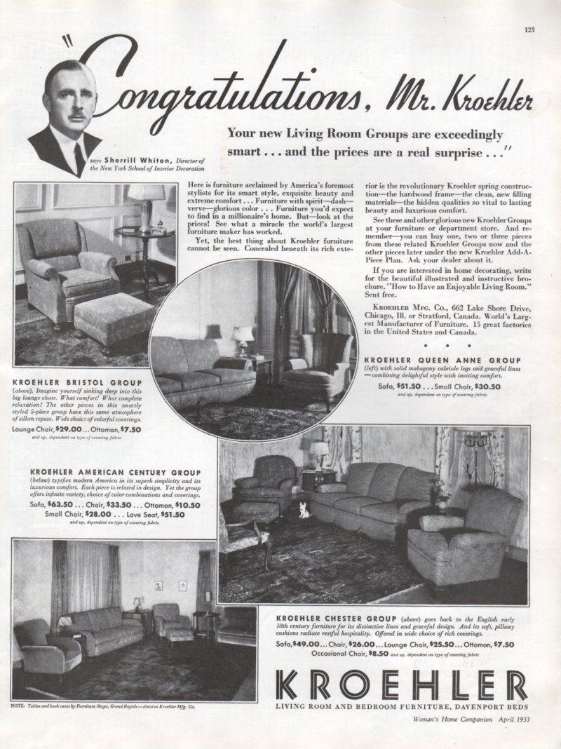 Kroehler Bedroom Furniture Kroehler Furniture Vintage Pictures Of Room Settings 1933