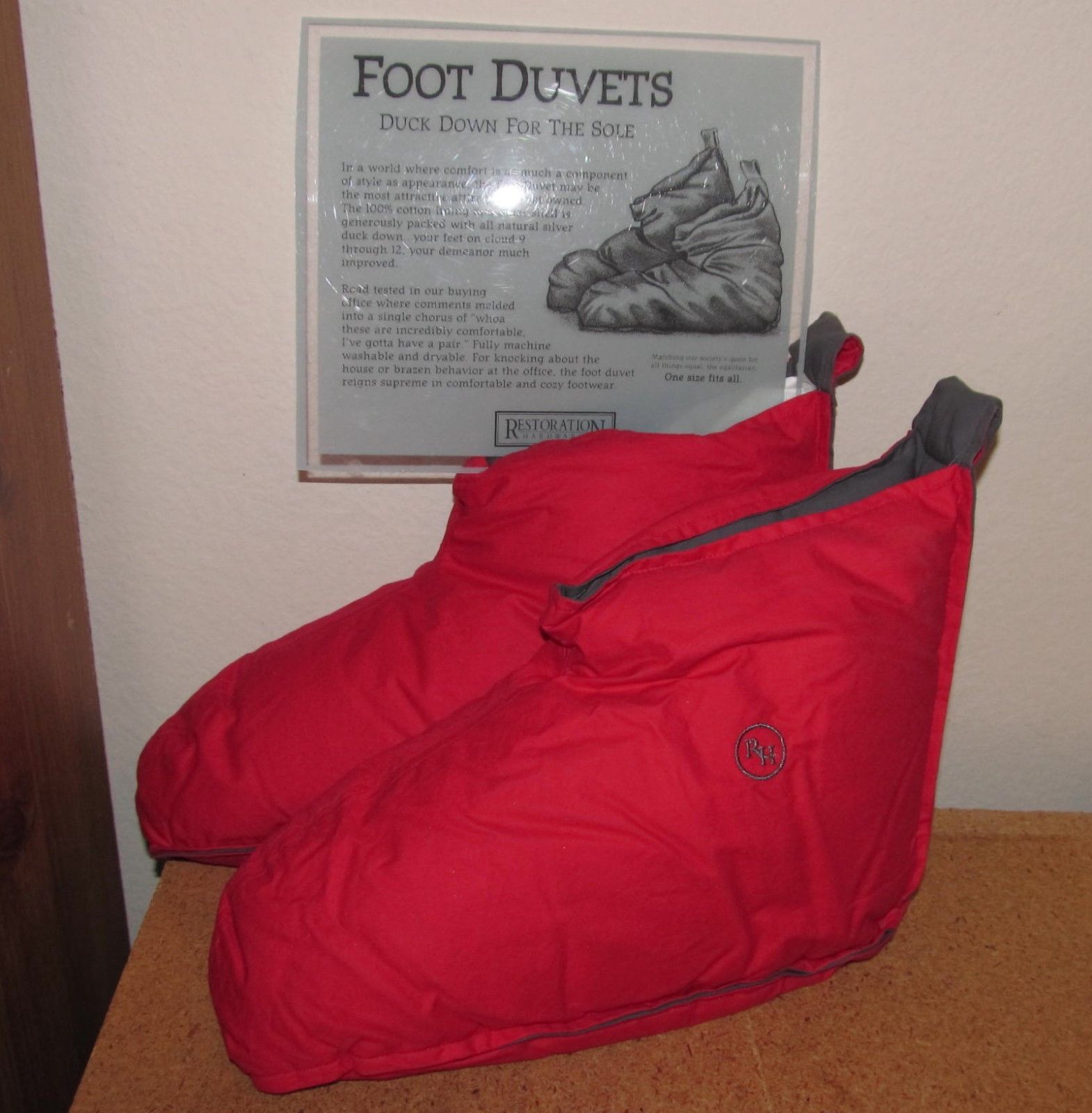 New Restoration Hardware Duck Down Foot Duvets Slippers Red One Size Fits All