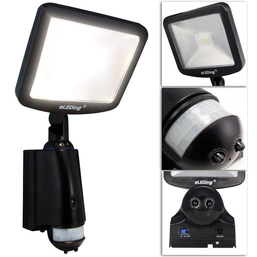 Eleding 180 Solar Powered Cree Led Outdoor Indoor Smart Security Safety Flood Spot Parking Lot Bicycle Path Light Ee818wdc Bp The Home Depot In 2020 Cree Led Solar Power Diy Flood Spot Lights