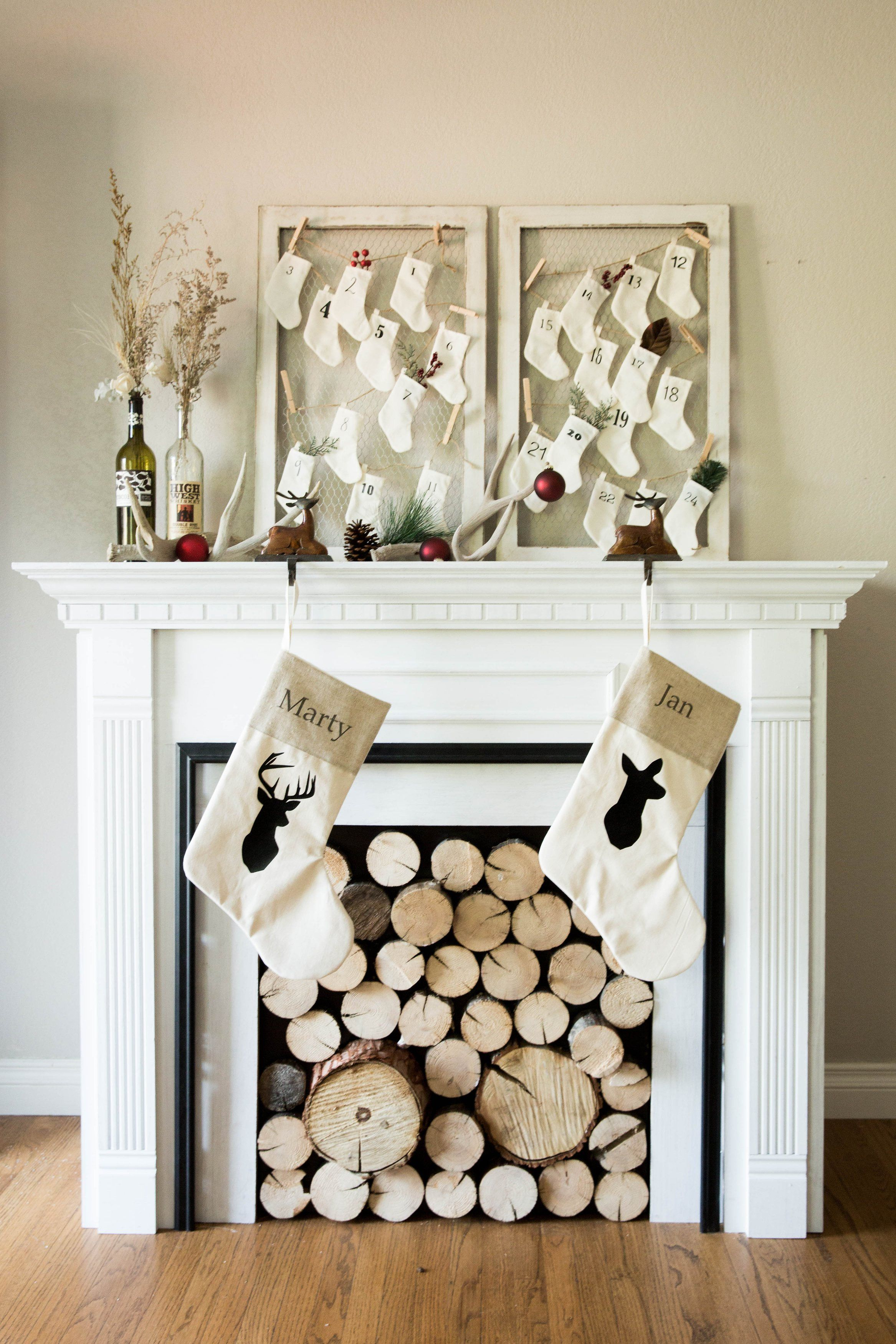 Rustic Deer Silhouette Christmas Stockings And Advent Calendar Buck And