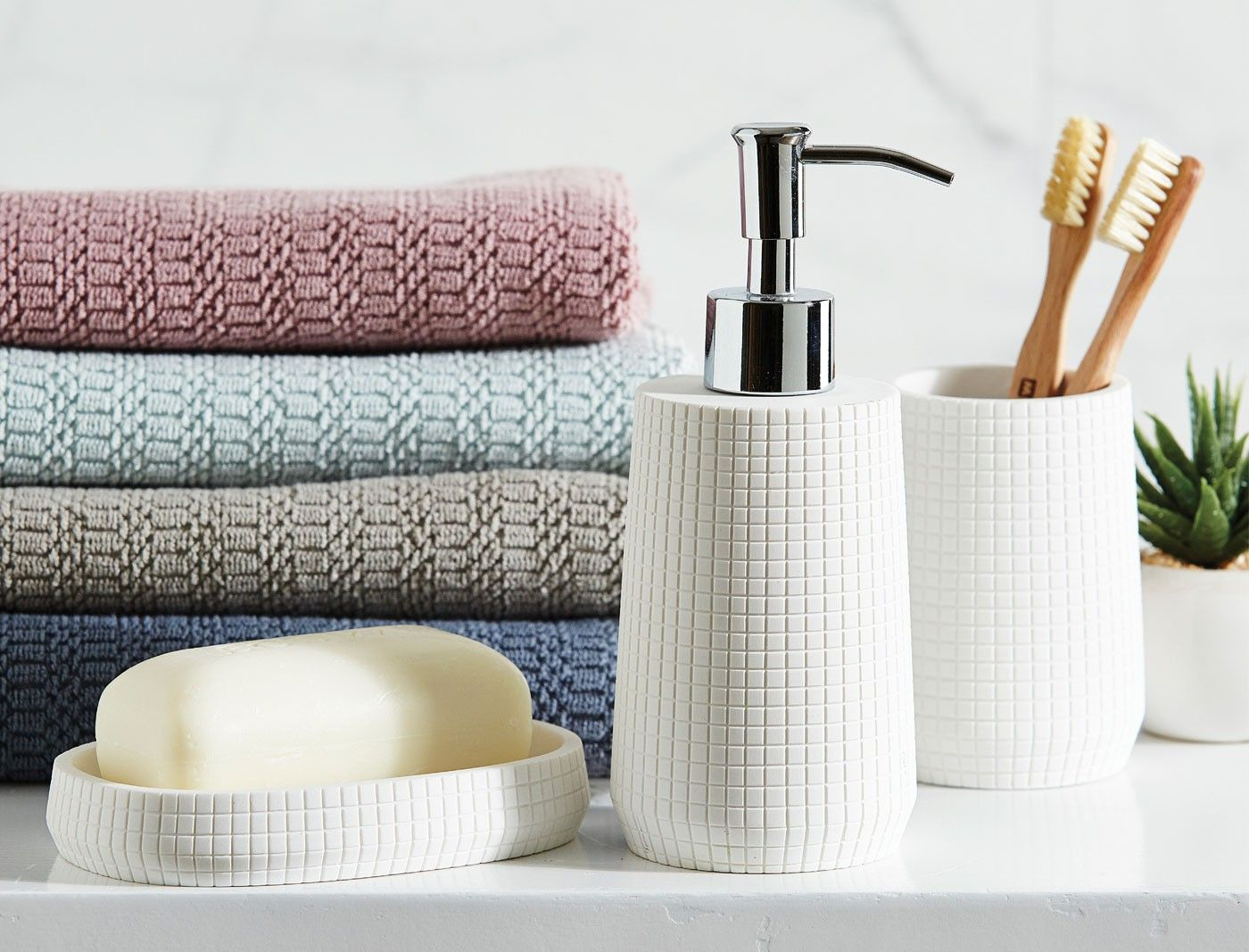 Simple and stylish, the Grid bathroom accessories will complement ...
