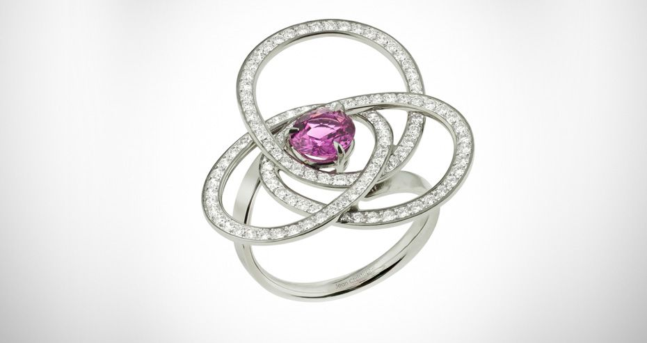 RING GOLD,PINK SAPPHIRE & DIAMONDS, BAGUE OR, SAPHIR ROSE & DIAMANTS BY JEAN CHRISTOPHE
