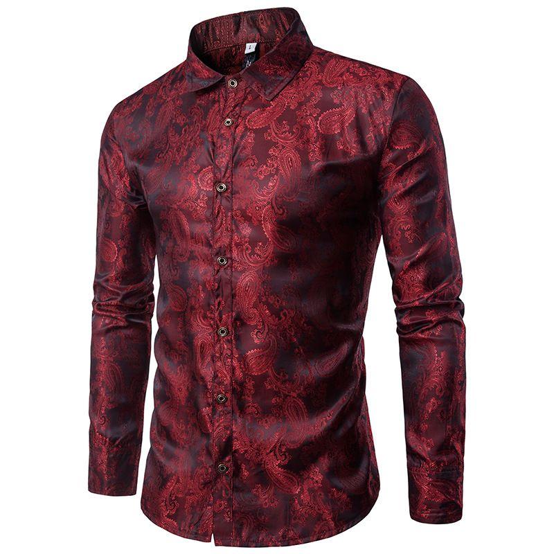 Bright Silk Shirts Men 2017 Promotion Autumn Long Sleeve Casual ...