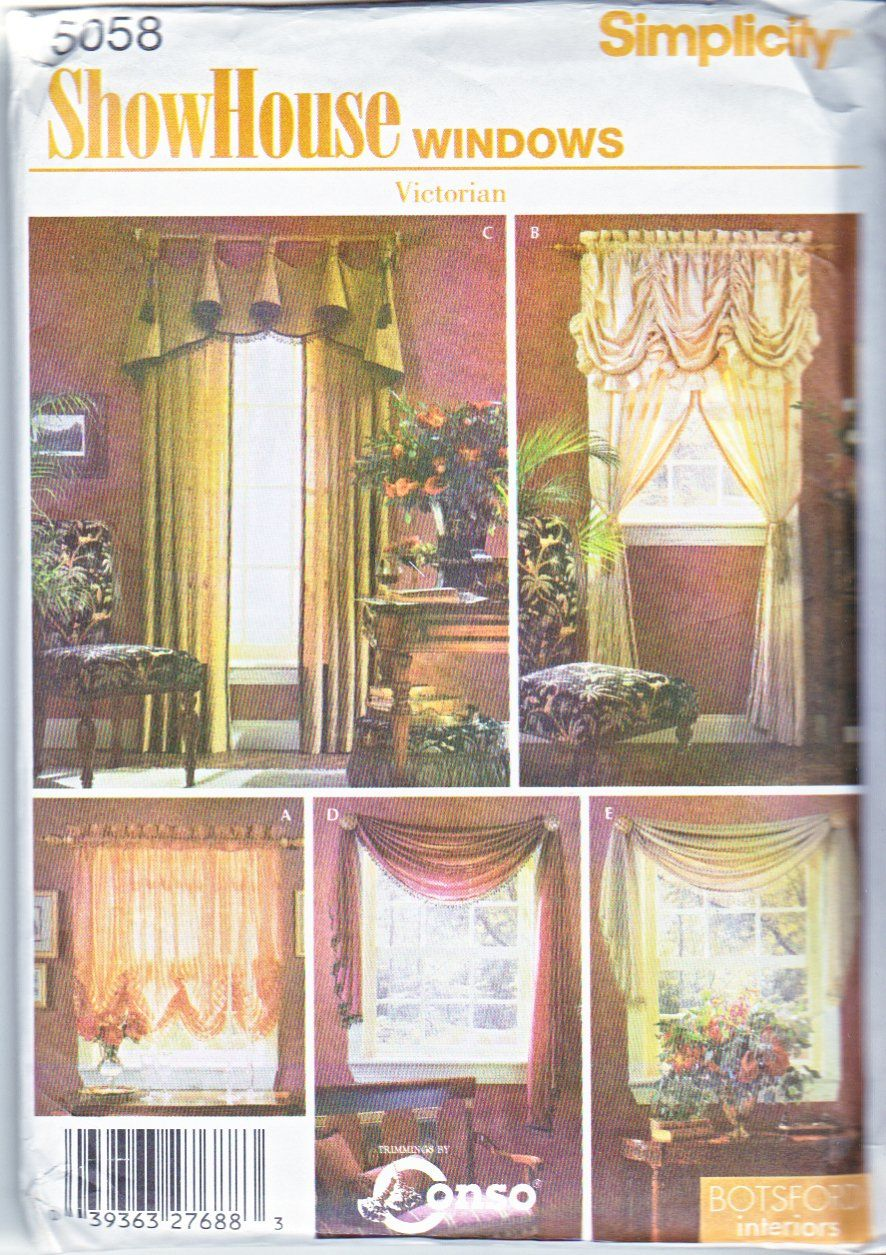 Swag curtains pattern - Simplicity Sewing Pattern 5058 Window Treatments Shades Drapery Panels Swag Curtains Valance Currently Available