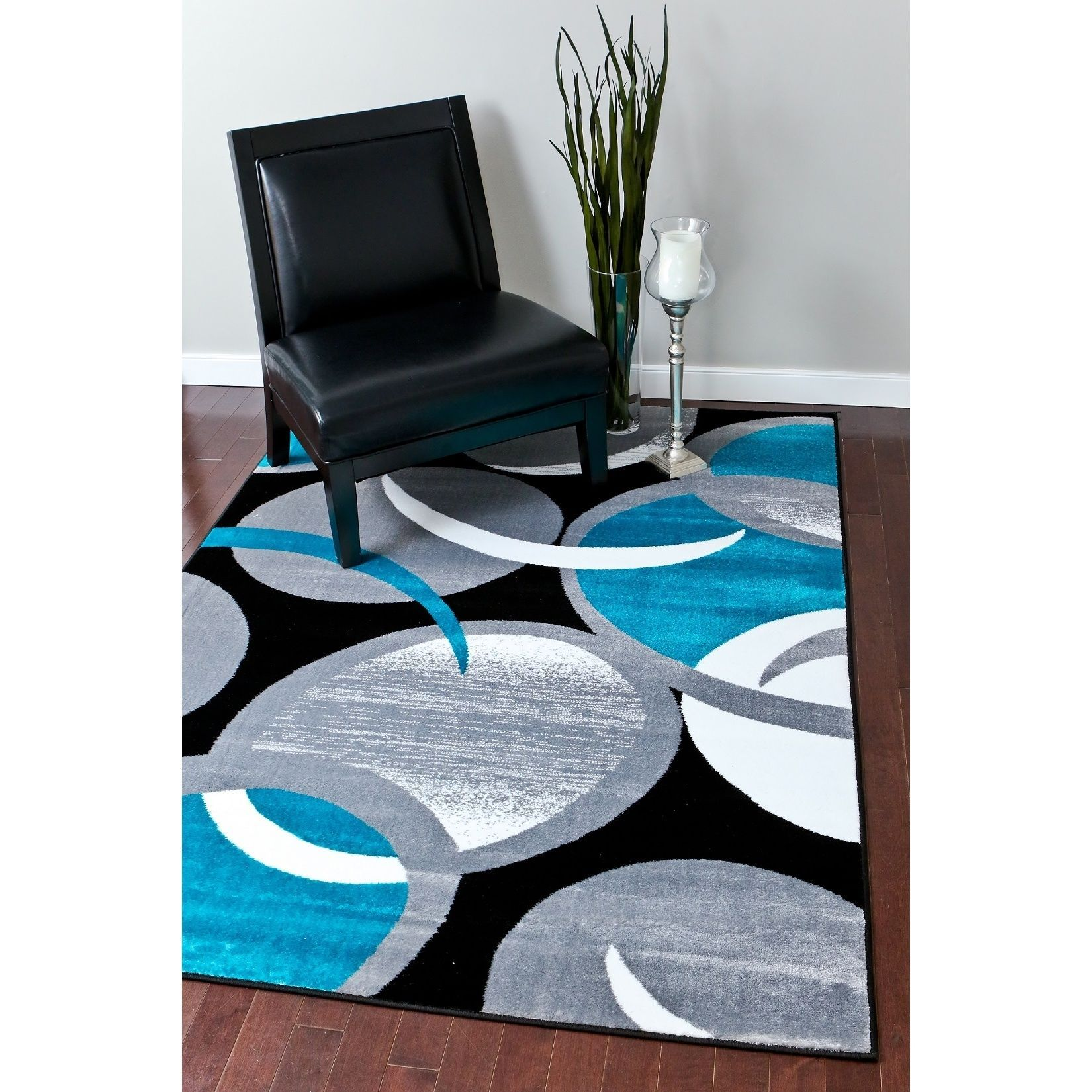 Persian Rugs Turquoise White Grey Gray Abstact Area Rug
