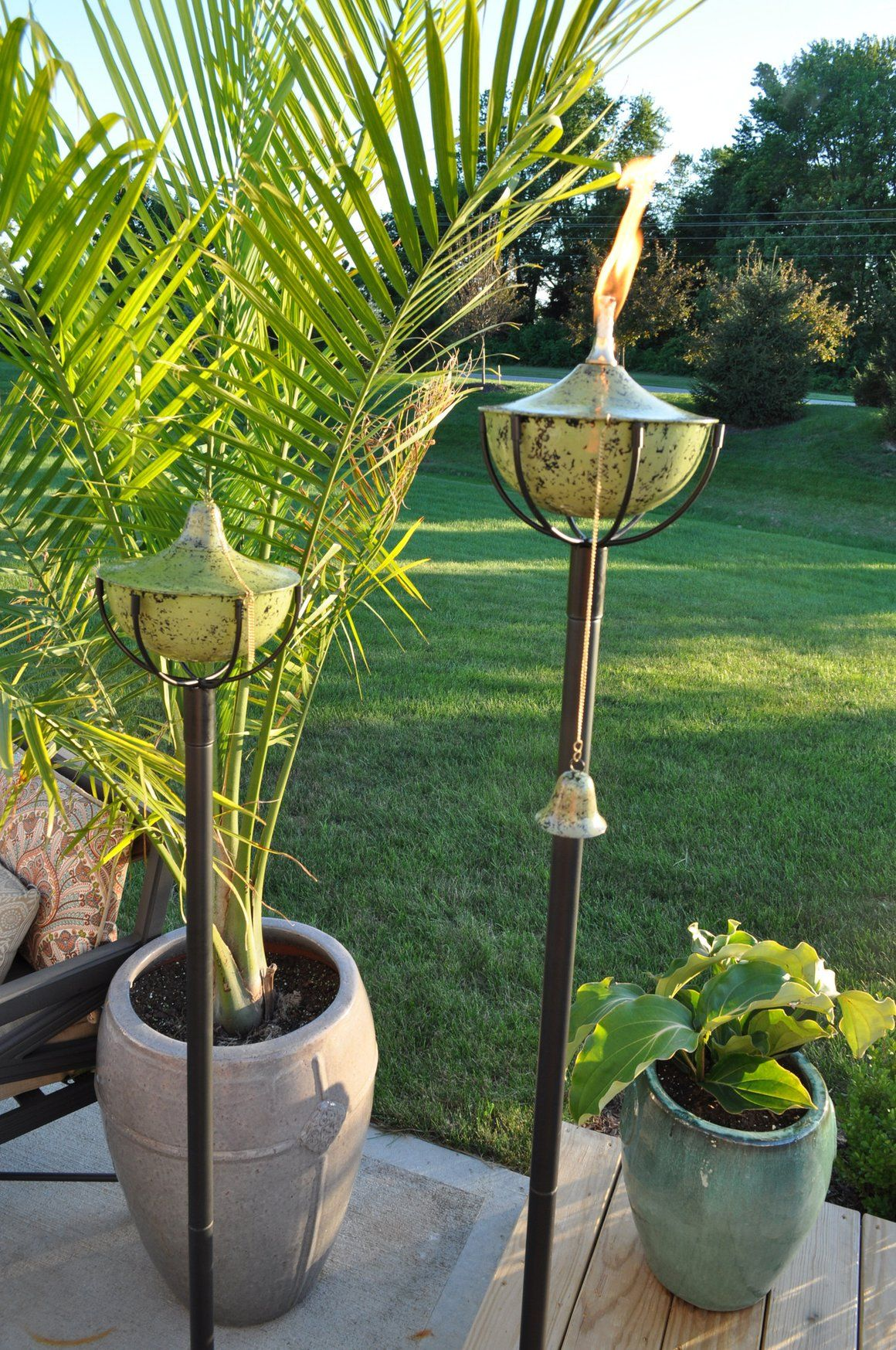 Maui Grande Tiki Torch Earthtone Set Of 2 Torches Earth Is Hatonendmade And Comes With A Fibergl Wick That Does Not Burn Away