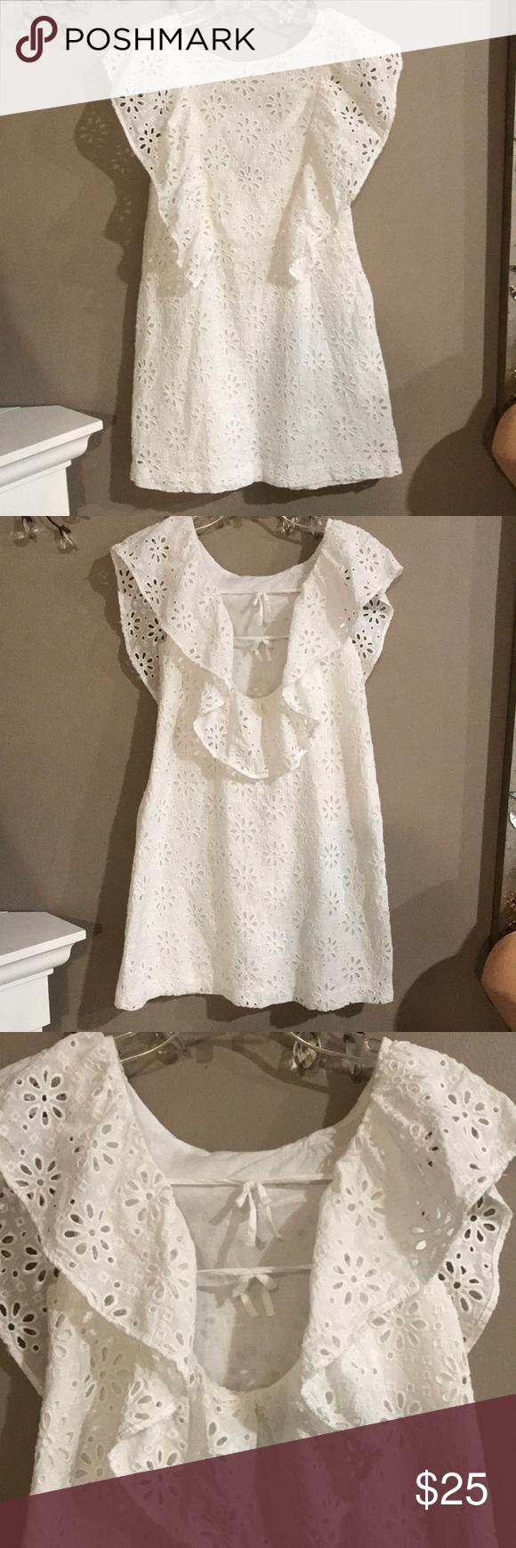 Zara Girls White Sleeveless Eyelet Dress Eyelet Dress White Sleeveless White Eyelet Dress [ 1740 x 580 Pixel ]