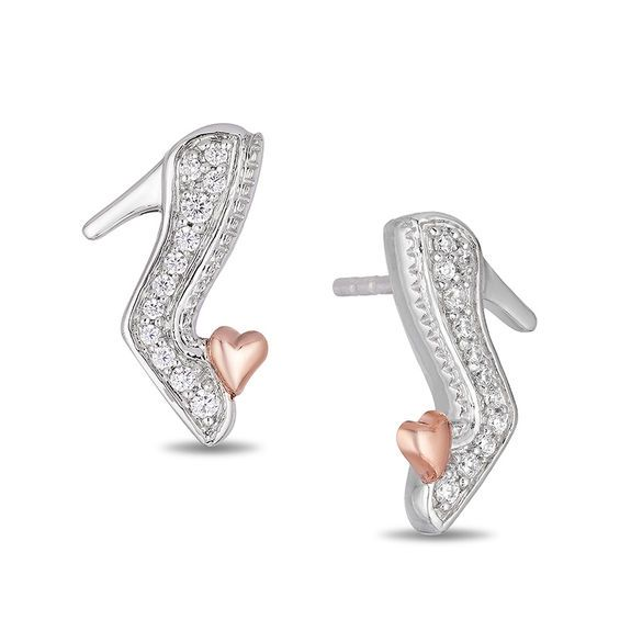 ba11cf2d0 Enchanted Disney Cinderella 1/10 CT. T.w. Diamond Slipper Stud Earrings in  Sterling Silver and 10K Rose Gold