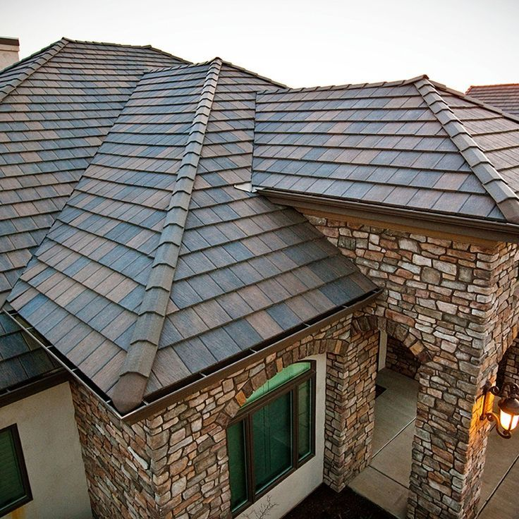 Marvelous Although Predominantly Dark Grey/blue, These Concrete Roof Tile Have  Brownish Shades Which Complement