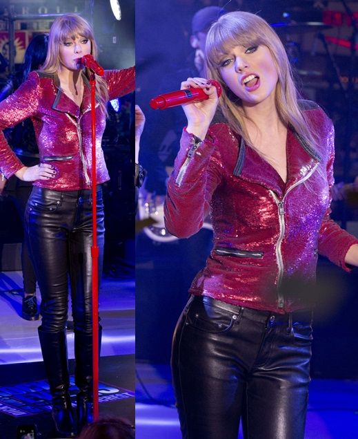 Taylor Swift: Biker Chic in Sequins and Sleek Knee Boots for New Year's Eve Times Square Performance