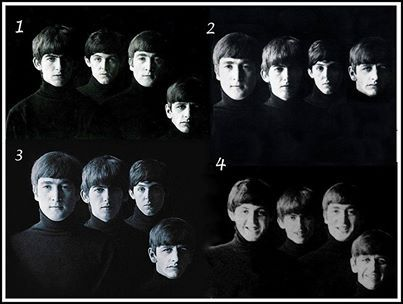 Four different versions of the iconic Robert Freeman Beatles photo