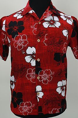 5468aaf9 XG Island Tropics black white hibiscus leaves red floral Hawaiian shirt  Medium