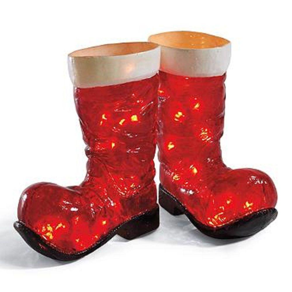 Santa claus christmas costume boots illuminated lights up