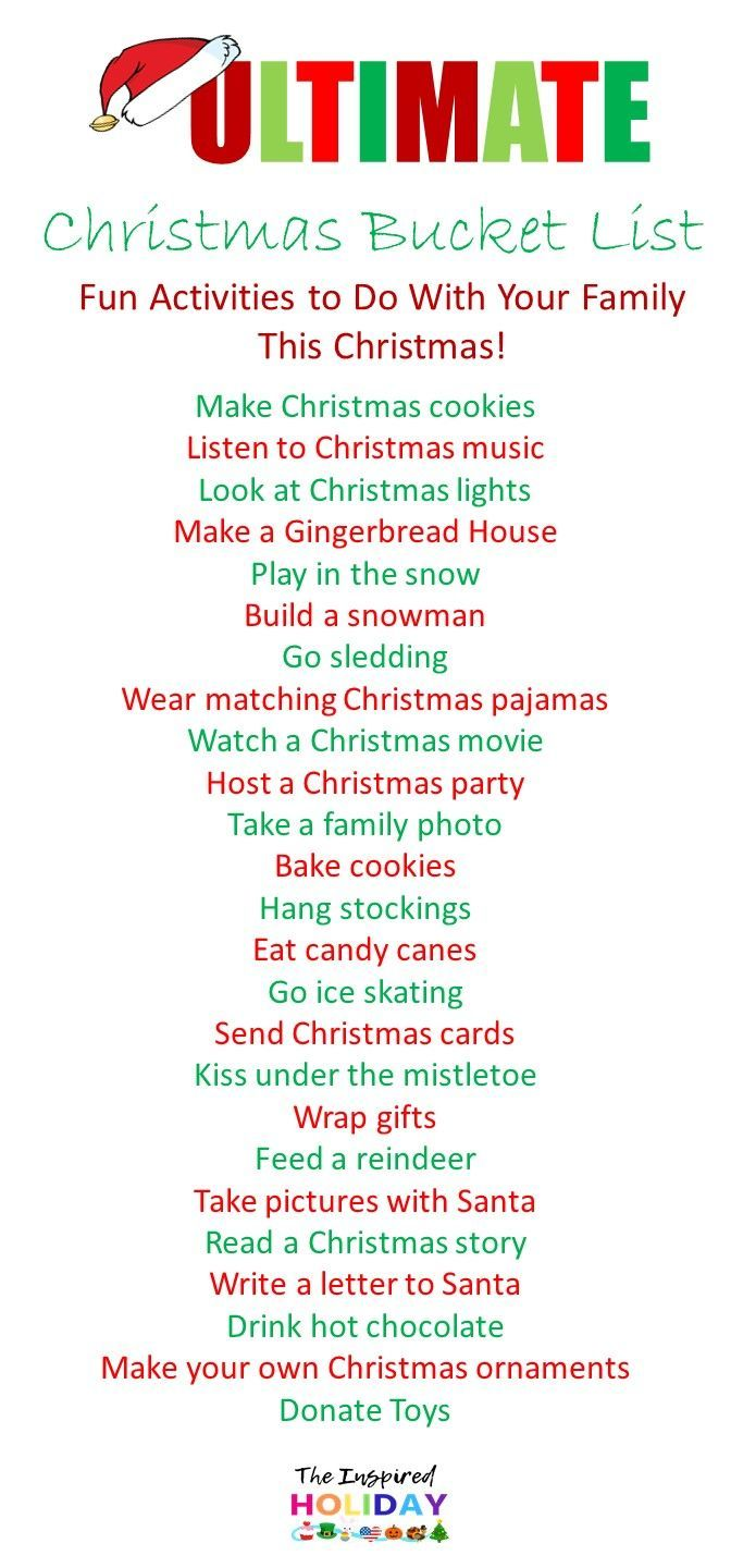 The Ultimate Christmas Bucket List 2019. Find the best ideas to try with your family this Christmas. Fun and new ways to help celebrate the most wonde…