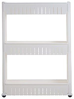 Mobile Shelving Unit Organizer With 3 Large Storage Baskets Slim Slide Out Pantry Rack For Narrow Es By Everyday Home Kitchen