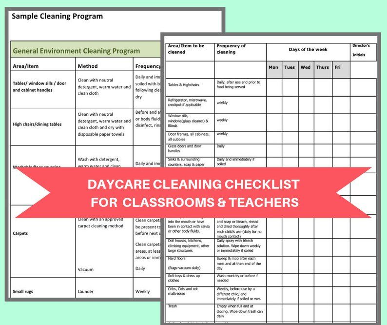 Daycare Classroom Cleaning Checklist Keep A Nice Tidy