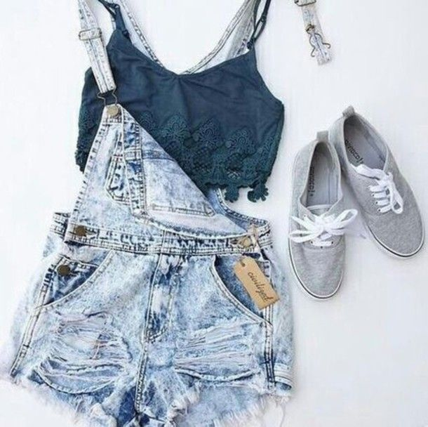 70392fbd860 shorts denim overall shorts bralette outfit jeans denim overalls crop tops  with overalls blue overalls jumpsuit denim romper